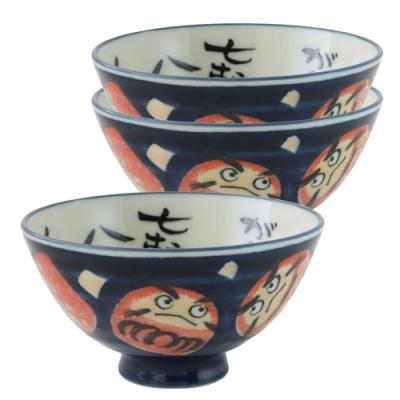 Just Home日本製深丸大平飯碗3件組(達摩花紋)實用可微波的飯碗組