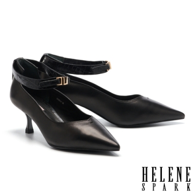 高跟鞋 HELENE SPARK 簡約氣質金屬釦魔鬼氈踝帶尖頭高跟鞋-黑
