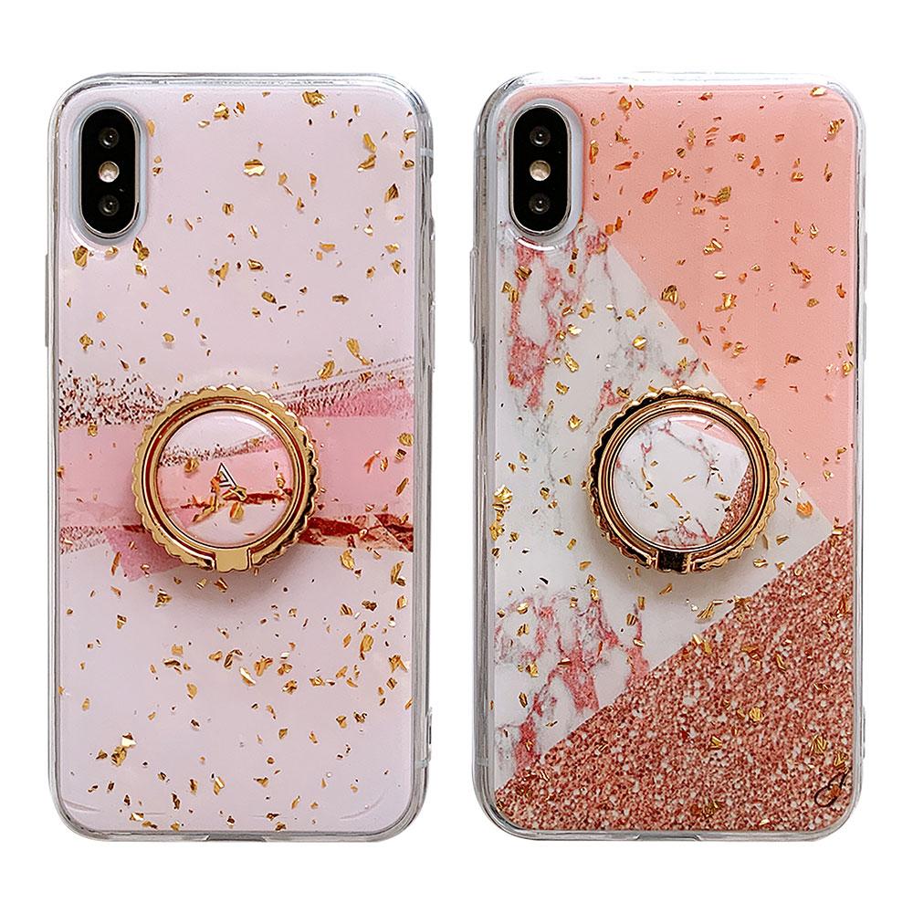 【TOYSELECT】iPhone Xs Max 粉嫩金箔大理石指環支架手機殼