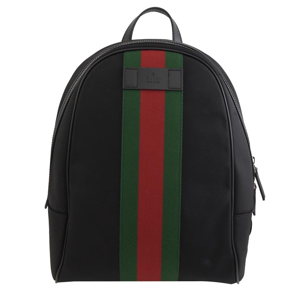 GUCCI 烙印LOGO綠紅綠織帶裝飾帆布拉鍊後背包(黑)