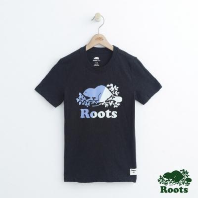 Roots大男童-雙色海狸短袖上衣-黑