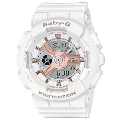 BABY-G 柔美玫瑰金設計休閒運動雙顯錶-白(BA-110RG-7A)/43.4mm