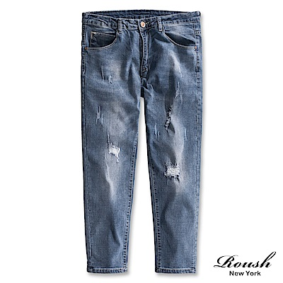 Roush 經典破壞補丁車縫9分牛仔褲