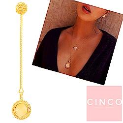 葡萄牙精品 CINCO FRANCES 925純銀鑲24K金硬幣項鍊 編織桂冠款