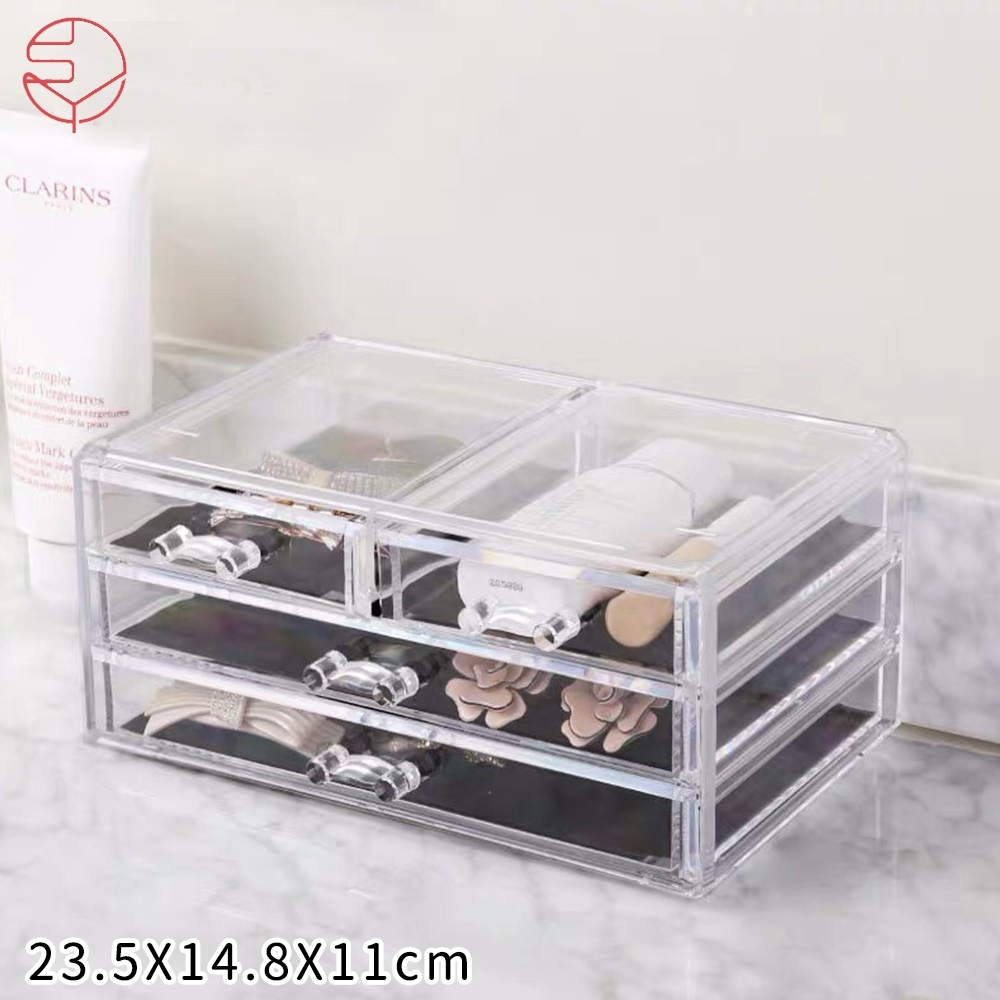 日本霜山 壓克力透明化妝品抽屜式收纳盒(三層抽屜)