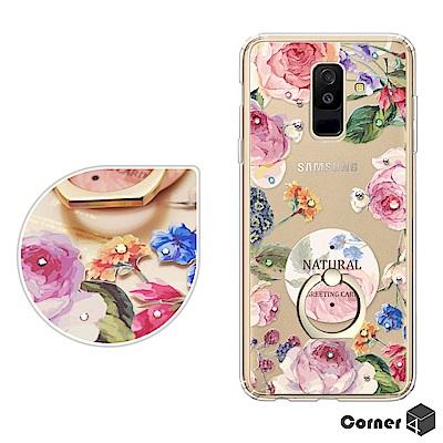 Corner4 Samsung Galaxy A6+ 奧地利彩鑽指環扣雙料手機殼-莓瑰