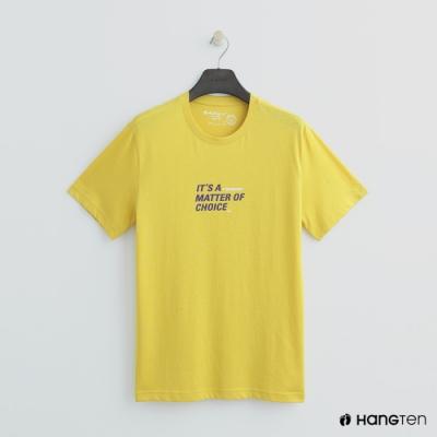 Hang Ten - 女裝 - 有機棉-簡約logo純色棉短T - 黃