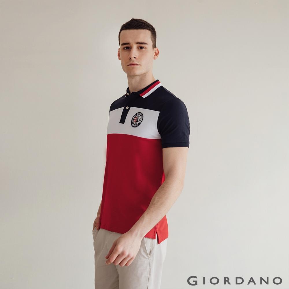 GIORDANO  男裝UNION JACK POLO衫 - 15 藍/白/紅