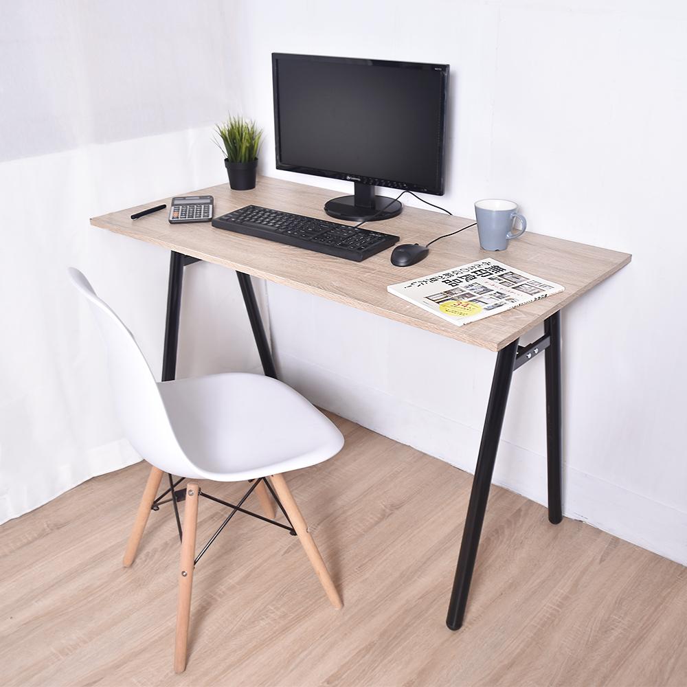 凱堡 桌子書桌A字工作桌電腦桌 原木 (附電線孔蓋)