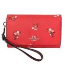 COACH莓果紅花紋PVC內真皮釦式翻合手掛手機袋中夾