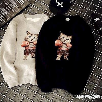 Monkey Shop 創意惡搞拳擊貓咪印花刷毛長袖T恤-4色
