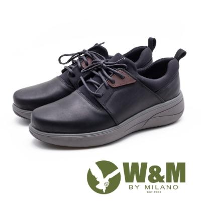 W&M 綁帶休閒運動厚底男鞋-黑(另有咖)