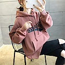 DABI 韓系寬鬆印花字母連帽加厚長袖上衣