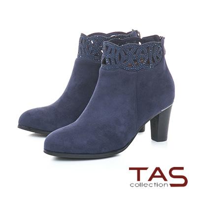 TAS鏤空雕花燙鑽絨布高跟短靴–深海藍