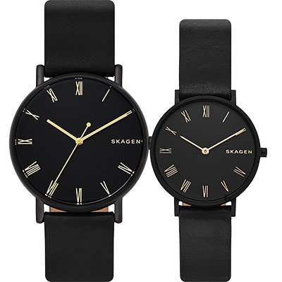 Skagen Signatur 羅馬字情侶對錶-黑/40+34mm