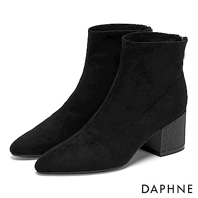 達芙妮DAPHNE 短靴-原色質感絨面復古直紋粗跟-黑