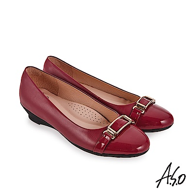 A.S.O 義式簡約 亮皮革拼接休閒鞋 桃粉紅