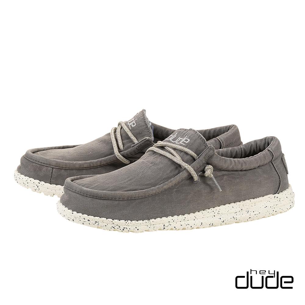 HEY DUDE(男) 四孔加厚水洗棉布輕量休閒鞋  - 隠形灰