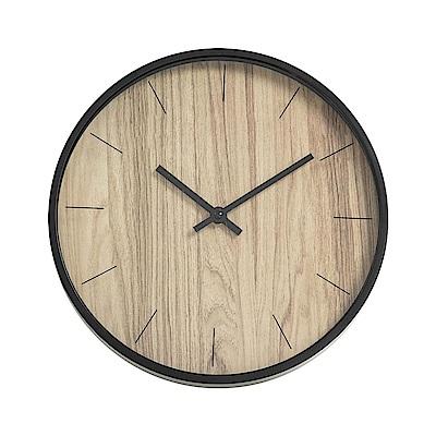 樂嫚妮 簡約仿木紋掛鐘/時鐘/12吋/低噪-黃木紋色