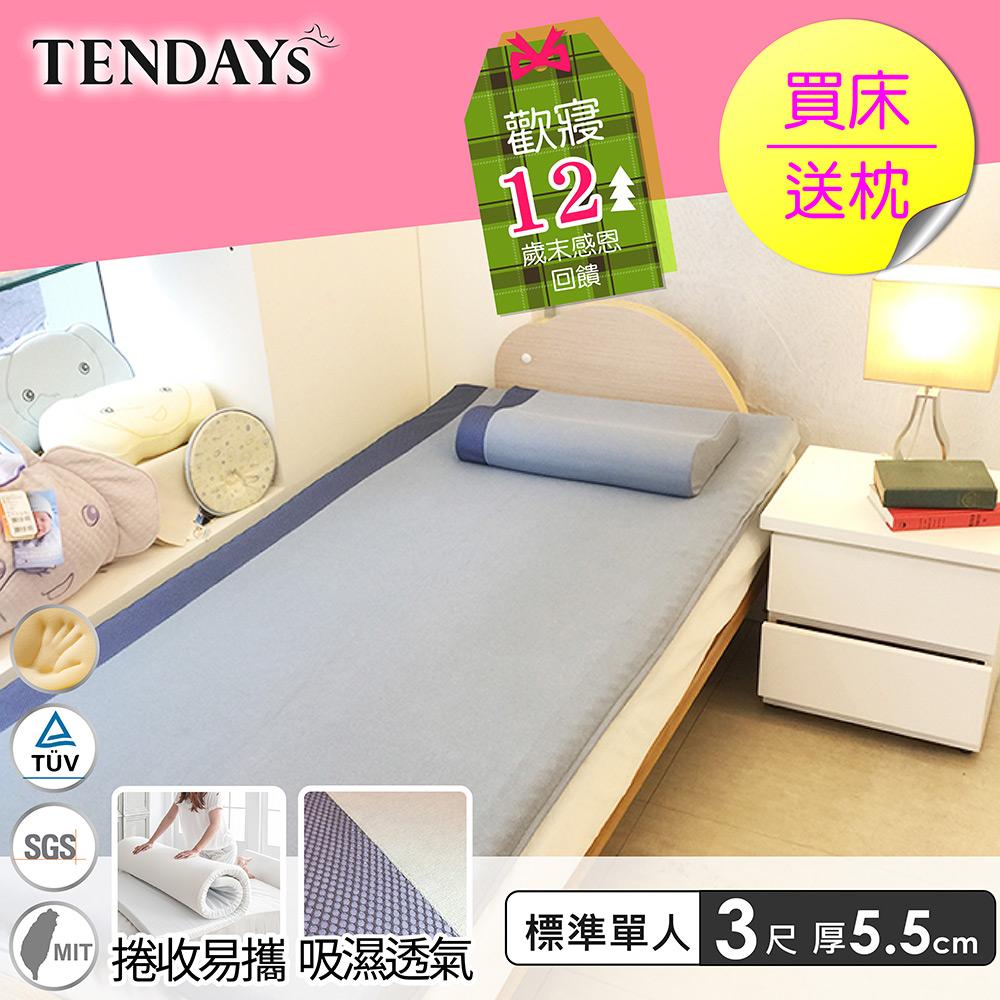 (週年慶)DISCOVERY柔眠床墊 標準單人3尺 5.5cm厚_文青藍特仕版