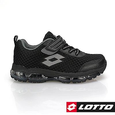 LOTTO 義大利- 童HIGH JUMP 能量蓄力 全氣墊跑鞋 (黑)
