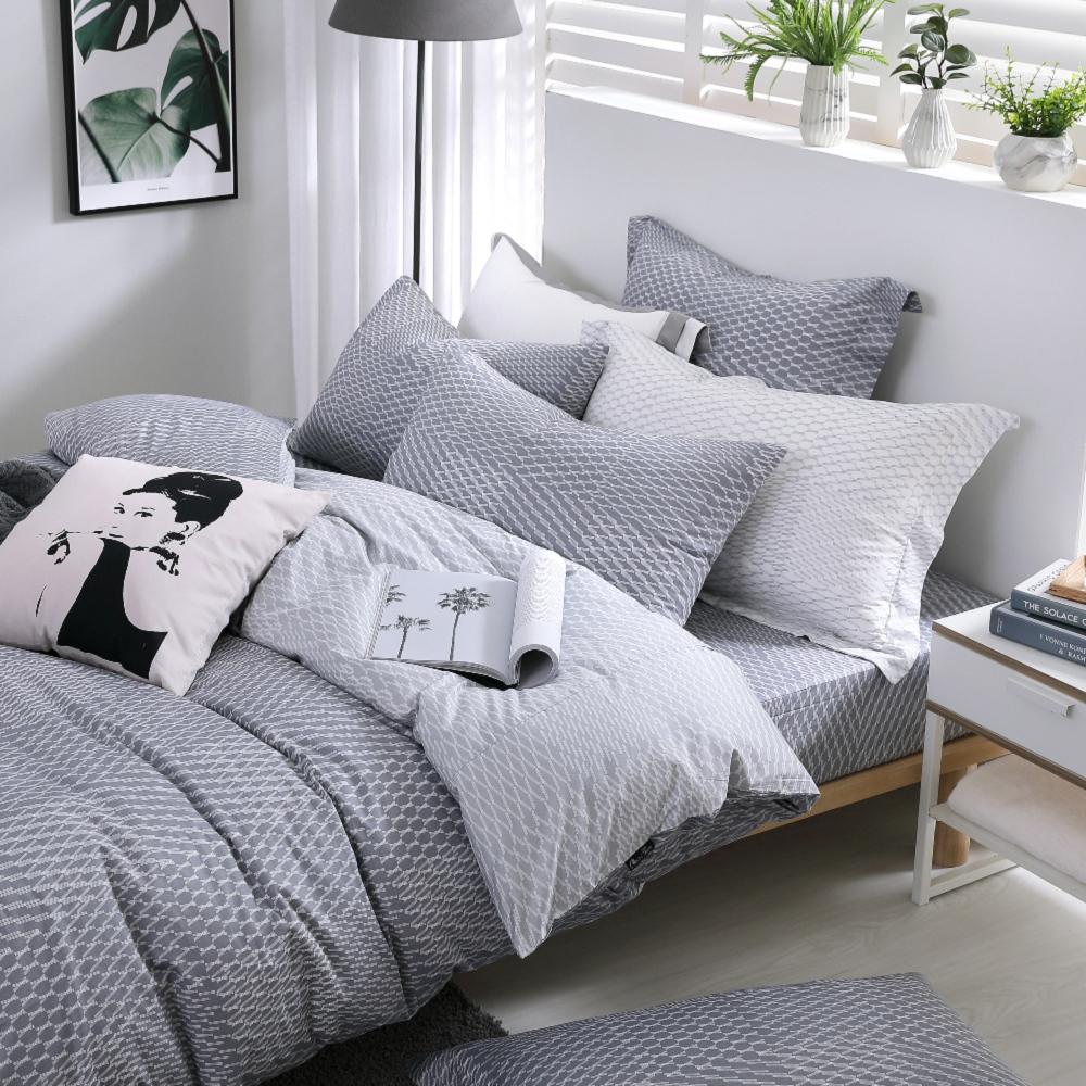 OLIVIA  蘭斯洛 鐵灰  單人床包美式枕套兩件組