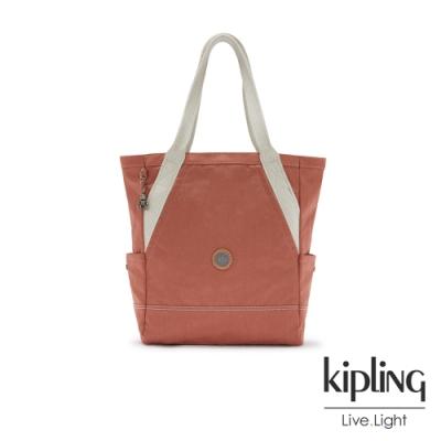 Kipling 柔霧甜美粉橘大容量托特包-ALMATO