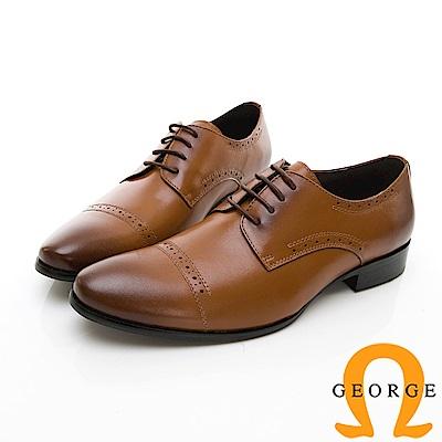 【GEORGE 喬治皮鞋】尊爵系列 拼接漸層綁帶紳士鞋皮鞋-棕色
