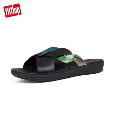 FitFlop REAGAN ROPE SLIDES波浪造型涼鞋-女(靚黑色)