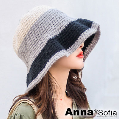 AnnaSofia 層拼色毛線粗織 軟式漁夫帽盆帽(黑灰米系)