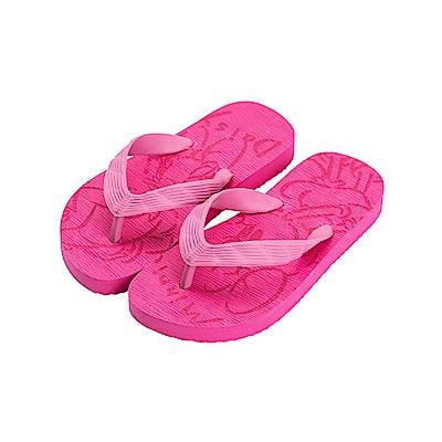 迪士尼童鞋 米妮 雷雕海灘夾腳拖鞋-桃