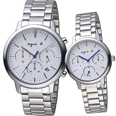 agnes b. 編織愛戀時尚對錶(VD53-KJC0S+VD75-KPZ0S)白