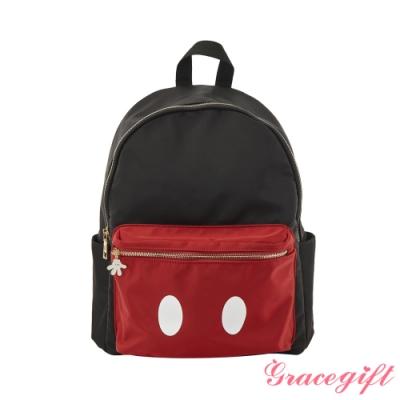 Disney collection by gracegift米奇造型口袋後背包 黑