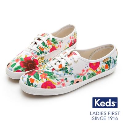 Keds Rifle Paper CHAMPION 色彩花卉鮮明綁帶帆布鞋-白