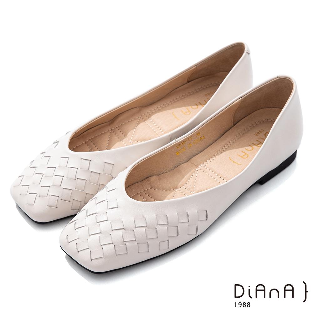 DIANA 1.5cm 柔軟羊皮編織方頭低跟鞋-都會時尚-白