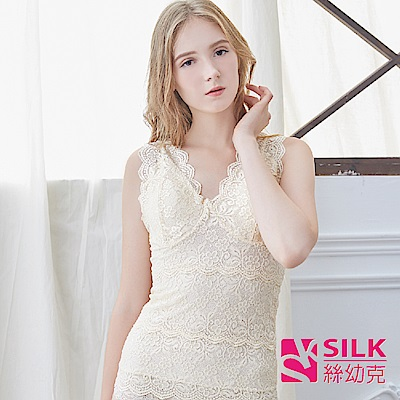 【SILK絲幼克】100%純蠶絲雙層收腹蕾絲無袖雕塑美體衣
