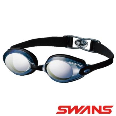 【SWANS 日本】光學通用型泳鏡(SWB-1M黑/防霧鍍膜/抗UV/矽膠軟墊)