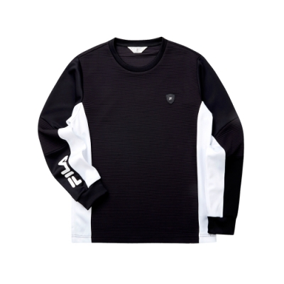 FILA 男長袖圓領T恤-黑色 1TET-5470-BK