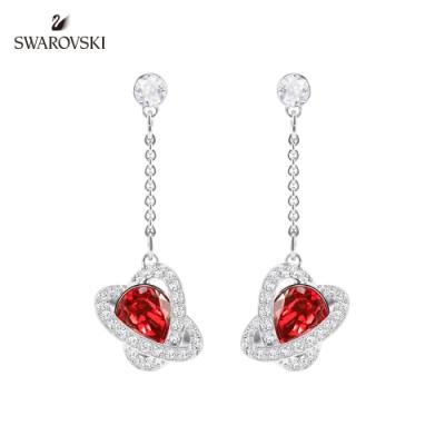 施華洛世奇 Outstanding 金色愛心飾框梨形紅墜飾耳環
