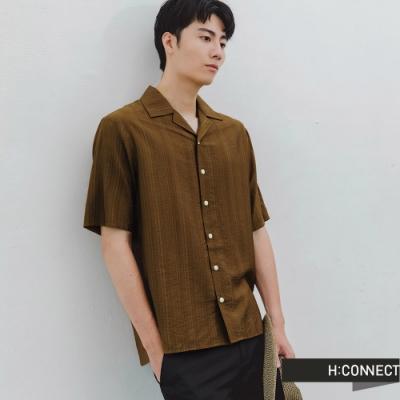 H:CONNECT 韓國品牌 男裝 -直條紋排釦短袖襯衫-綠
