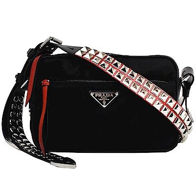 PRADA 皮革鉚釘尼龍肩背/斜背包(黑x紅)