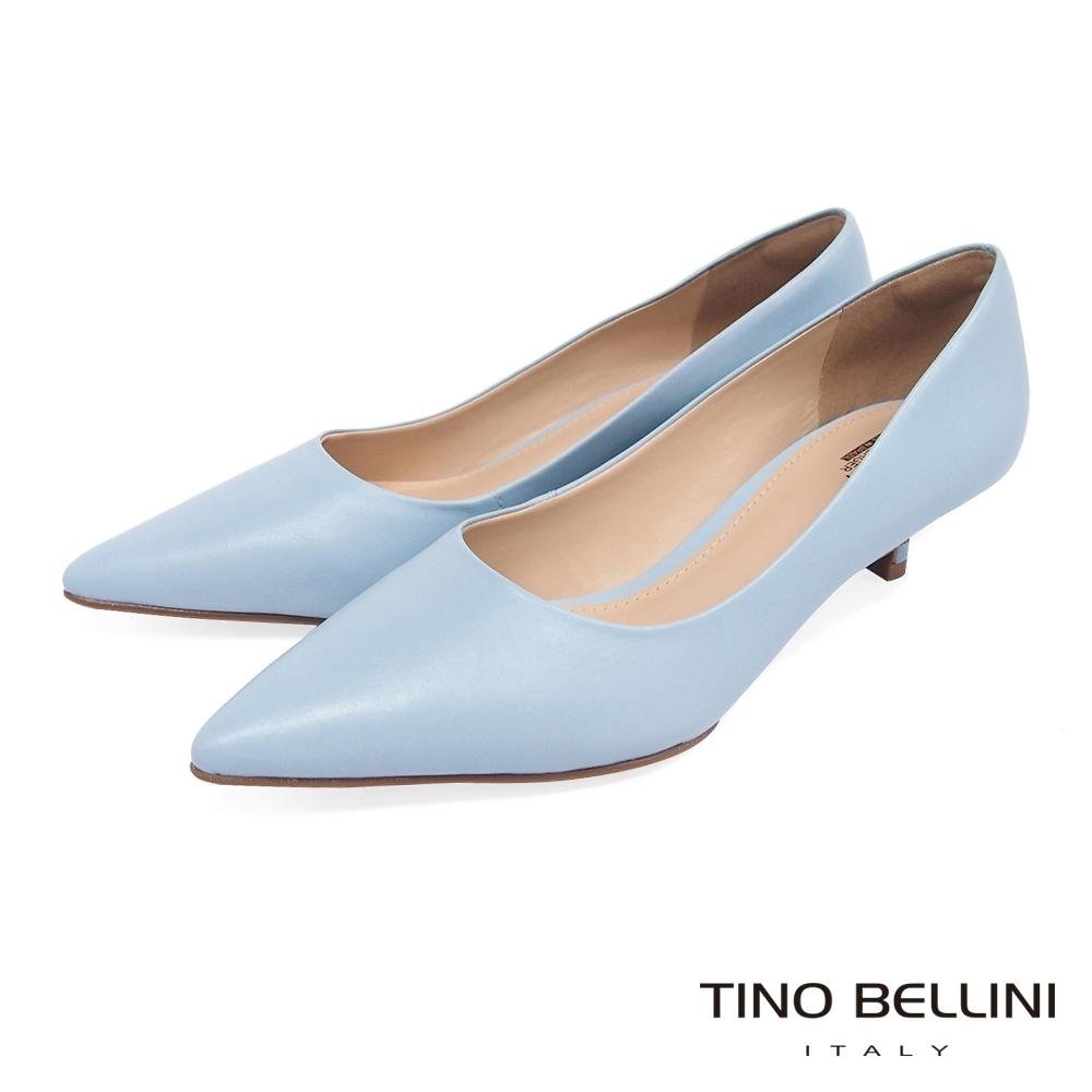 Tino Bellini巴西進口簡約俐落4cmOL低跟鞋_水藍