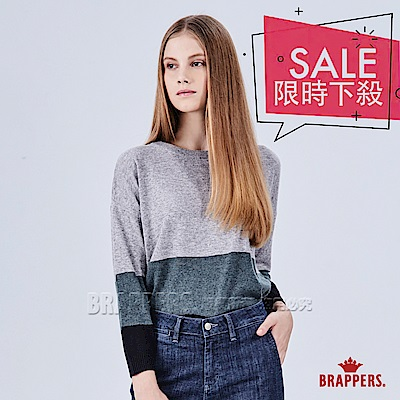 BRAPPERS 女款 圓領配色拼接長袖線衫-灰