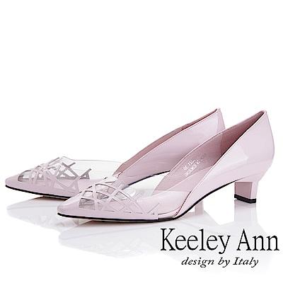Keeley Ann時尚膠片 側邊簍空低跟包鞋(粉紅色-Ann系列)