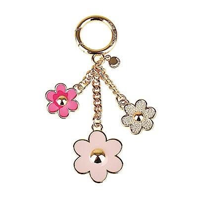 MK MICHAEL KORS CHARMS金屬鑲鑽三朵花設計吊飾鑰匙圈(淡粉X桃)