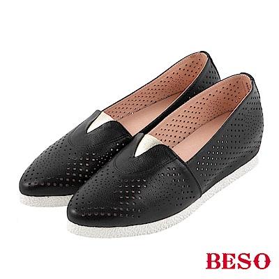 BESO 自在樂活 內增高休閒鞋~黑
