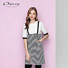 OUWEY歐薇 假兩件條紋拼接洋裝(白)