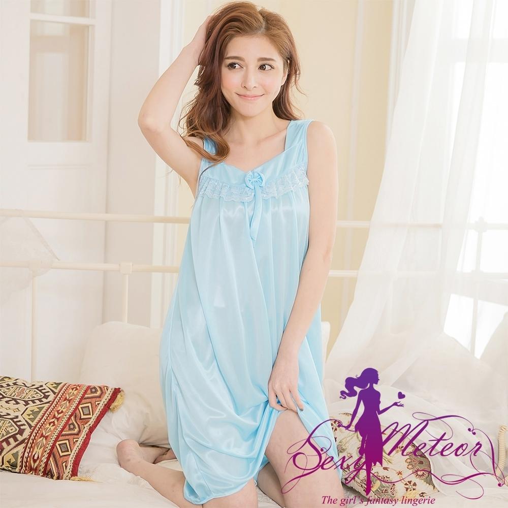 睡衣 全尺碼 冰絲蝶結蕾絲背心式連身裙睡衣(純真藍) Sexy Meteor