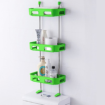多功能浴室置物架//綠色三層
