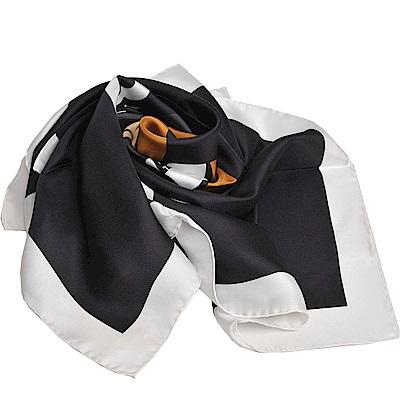 MOSCHINO 義大利製PLAYBOY小熊圖騰字母LOGO圍巾/披肩(黑底白邊)